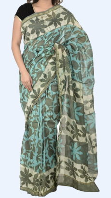 Greyish Teal Chanderi Hand Block Print Sarees With Mehendi Green Floral Design Pattern And Golden Border-yespoho