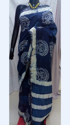 Dark Blue Chanderi Hand Block Print Sarees With White Traditional Design And Golden Border-yespoho