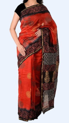 Tomato Red Chanderi Hand Block Print Sarees With Black And Golden Border-yespoho