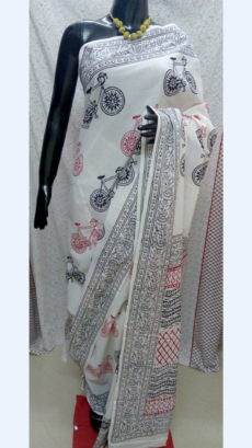 White Chanderi Cotton Shibori Hand Block Print Saree With Multicolor Cycle Design-yespoho