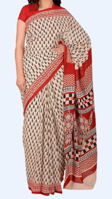 Light Peach Chanderi Cotton Shibori Hand Block Print Saree With Red Border And Floral Design-yespoho