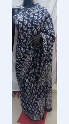 Navy Blue Chanderi Cotton Batik Print Saree With White Floral Design Pattern-yespoho