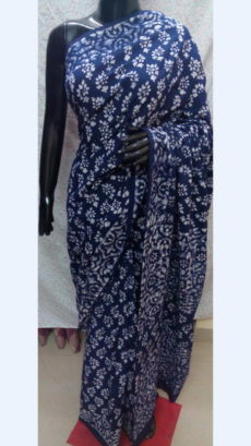 Dark Blue Chanderi Cotton Batik Print Saree With White Floral Design Pattern-yespoho