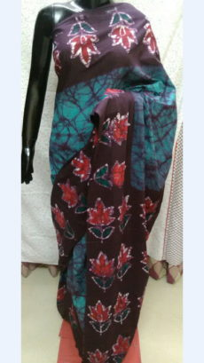 Dark Brown And Teal Chanderi Cotton Batik Print Saree With Floral Design Border-yespoho