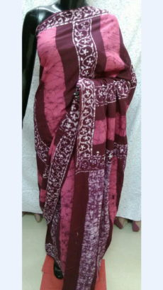 Light And Dark Pink Chanderi Cotton Batik Print Saree With White Design On Border-yespoho