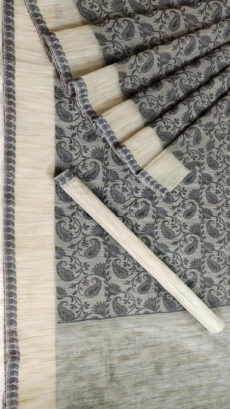 Light Grey Banarasi Tanchui Sarees With Dark Grey Floral Design And Light Cream Border-yespoho