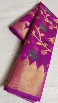 Magenta Banarasi Cotton Soft Silk Sarees With Floral Design And Gold Border-yespoho