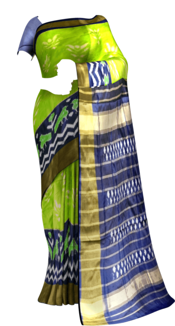 Pochampally ikkat flower design with parrot border Saree20 Yespoho Sarees Pochampally Sarees Ikkat Sarees