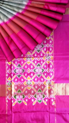 Grey Pochampally Ikkat small checks saree-yespoho