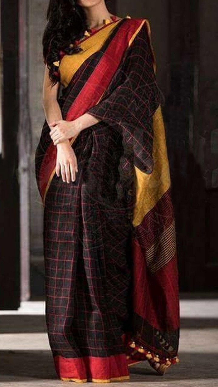 Dark Linen Saree With Red Stripped Check Design