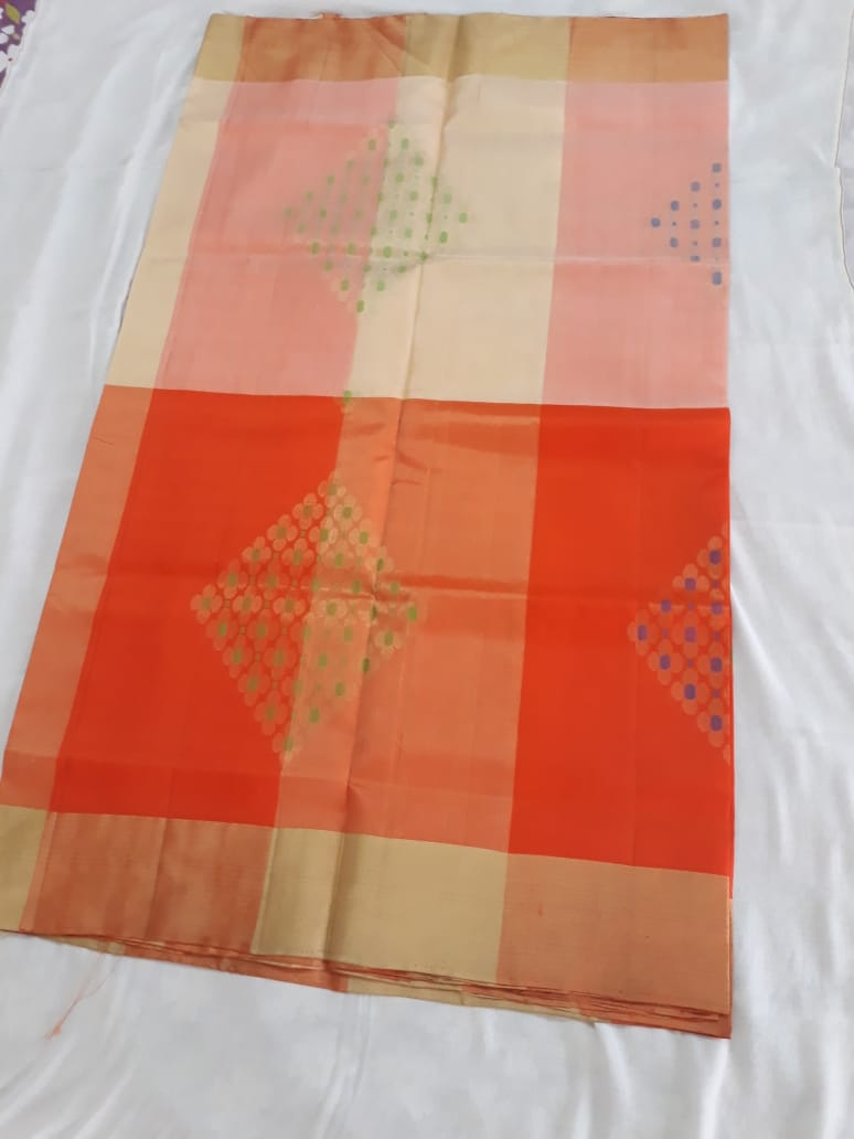 Orange Off White Uppada Soft Silk Saree