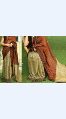 Brick Red Linen Saree with Gold on a Semi-Contrast-yespoho