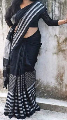 Plain patterned Bluish Black Linen Saree coupled with Striped Pallu-yespoho