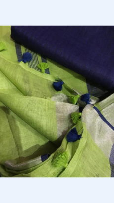Yellowish Green Linen Saree with Silver And Thin Dark Blue Border-yespoho