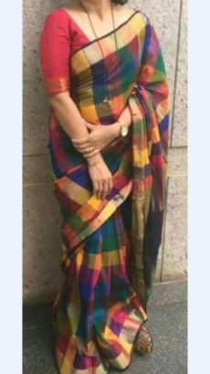 Checks patterned Multicolored Linen Saree with Checks Pallu-yespoho