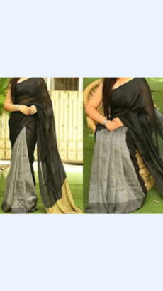 Black Linen Saree with Plain Pallu perfect for occassions-yespoho
