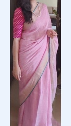 Baby Pink Linen Saree with Plain Pallu-yespoho