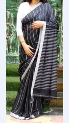 Black Linen Saree with White Border-yespoho