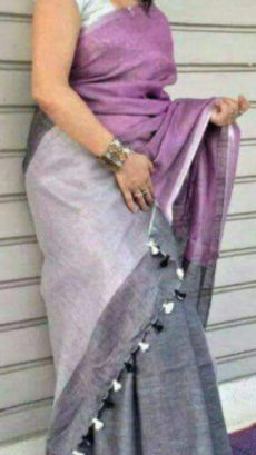 Plain patterned Dark Greyish Pink Linen Saree with Plain Pallu-yespoho