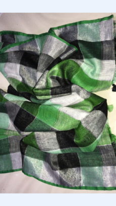 Black and Green Linen Saree with Dark green Border-yespoho