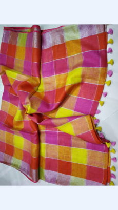 Checks patterned Multicolored Linen Saree