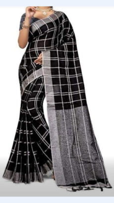 Black Linen Saree with Silver Border