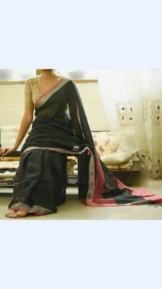 Black Linen Saree with Striped Pallu