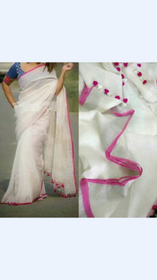 Plain patterned White Linen Saree coupled with Plain Pallu-yespoho