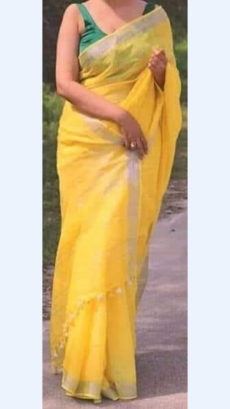 Bright Yellow Linen Saree with Silver Border-yespoho