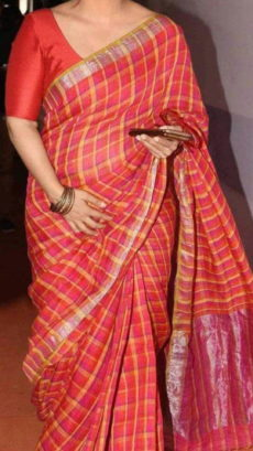 Coral Red Linen Saree