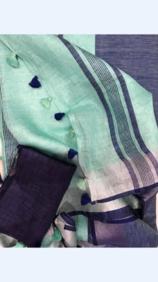 Light Bluish Green Linen Saree with Silver And Thin Dark Violet Border-yespoho