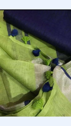Plain patterned Yellowish Green Linen Saree with Striped Pallu-yespoho