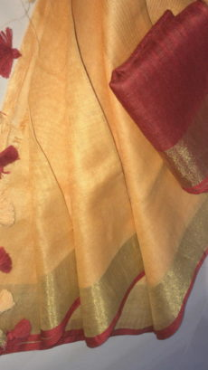 Mango yellow Linen Saree with Gold And Thin Maroon Border-yespoho