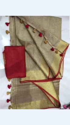 Golden Linen Saree with Plain Pallu perfect for occassions-yespoho