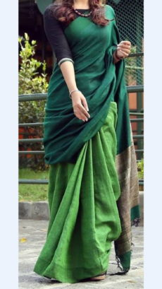 Dark And Light Green Linen Saree
