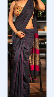 Dark Grey Linen Saree with Striped Pallu perfect for occassion-yespoho