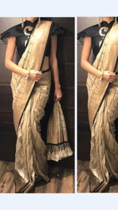 Cream Yellow Linen Saree with Gold And Thin Black border-yespoho