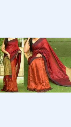 Dark Brown and Tomato Red Linen Saree with Dark Brown Border-yespoho