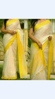 White Linen Saree with Yellow Plain Pallu