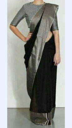 Plain patterned Black Linen Saree with Plain Pallu-yespoho