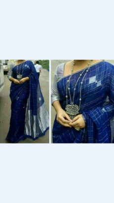 Navy blue and Silver Linen Saree with Borderless-yespoho