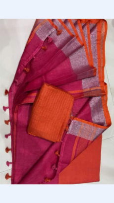 Maroon Linen Saree with Silver and Thin Orange Border-yespoho