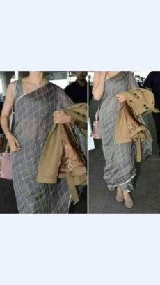Grey Linen Saree with Silver Border