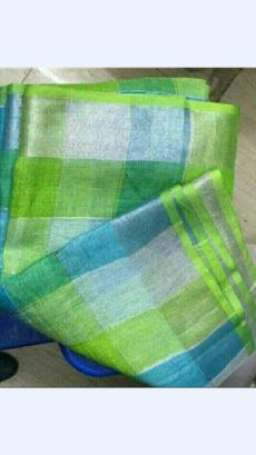 Green Shade Linen Saree with Checks Pallu perfect for occassions-yespoho