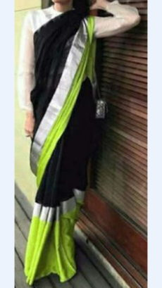 Plain patterned Black Linen Saree coupled with Plain Pallu-yespoho