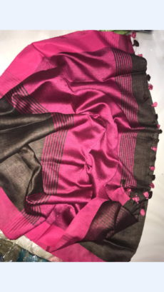Brown Linen Saree with Pink Border on a Semi-Contrast-yespoho