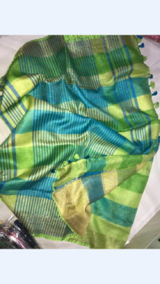 Lemon Green and Yellow Linen Saree with Lemon green Border-yespoho