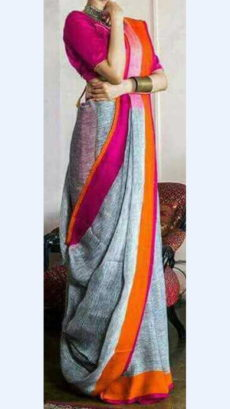 Greyish Blue Linen Saree