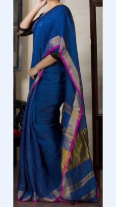 Plain patterned Blue Linen Saree with Striped Pallu-yespoho