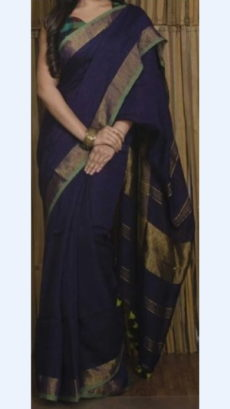 Dark Navy Blue Linen Saree with Plain Pallu perfect for occassions-yespoho